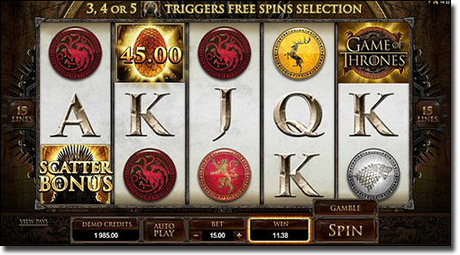 Play Game of Thrones video slots online now