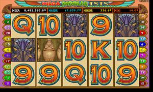 Mega Moolah Isis progressive jackpot slots by Microgaming