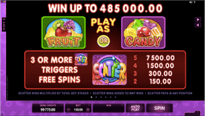 Fruit vs Candy online slots symbols