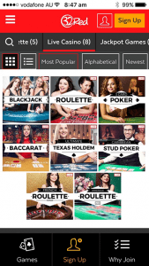 Live dealer catalogue at 32Red.com