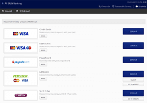 All Slots banking options for deposits