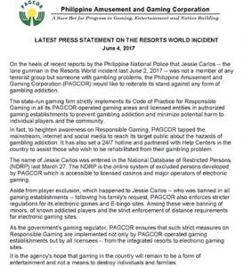 PAGCOR release statement on casino attack