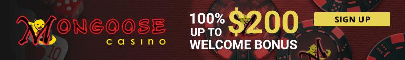 Mongoose Casino welcome bonus and promo codes